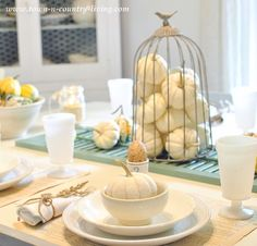 Baby Boos in a Fall Table Setting via Town and Country Living