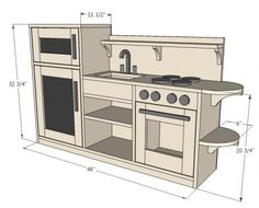 One Piece Play Kitchen -- like the idea of it being one piece. And I like the round shelves on the end. // Built this and it came out great. Plans are easy to follow and well done.