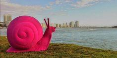 Giant pink snail. Miami Art Basel. Photo by miamism. Hg2Magazine.com.