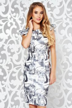StarShinerS grey elegant pencil dress slightly elastic fabric from shiny fabric with ruffle details, with ruffle details, tented cut, without clothing, sleeveless, floral prints, shiny fabric, slightly elastic fabric, scuba, double knit from neoprene with vivid and colourful or 3D prints, back zipper fastening