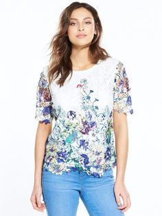 9b22b5d47fa V by Very Printed Lace Top White Size UK 22 rrp 35 DH079 ii 12  fashion   clothing  shoes  accessories  womensclothing  tops (ebay link)