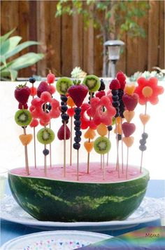 party Garden Party Menu from ChefSarahElizabet. -garten party Garden Party Menu from ChefSarahElizabet. - Here's necessary kitchenware to create fun-shaped fruit and vegetables. 👩🍳Just 2 steps - push and pop🍉🥝 Festa Fadas Fruits Decoration, Garden Party Decorations, Fairy Party Ideas, Food Decorations, Halloween Decorations, Deco Fruit, Snacks Für Party, Party Drinks, Party Desserts