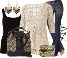 """Straw bag and crochet cardigan"" by leilani-almazan on Polyvore"