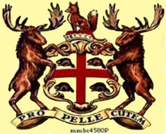 Coat of arms of the Hudson's Bay Trading Company. The beavers are so cute! Hudson's Bay was started around 1620 to profit from the fur trade, particularly beaver. Mountain Man Rendezvous, Hudson Bay Blanket, Fur Trade, Canadian History, O Canada, Crests, First Nations, Coat Of Arms, Moose Art