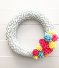 Bright and Colorful Spring Pom Pom Wreath Easter by thepompomtree