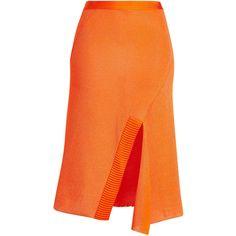 Victoria Beckham Knit Skirt ($1,320) ❤ liked on Polyvore featuring skirts, orange, victoria beckham skirt, asymmetrical skirt, victoria beckham, knit skirt and orange skirts