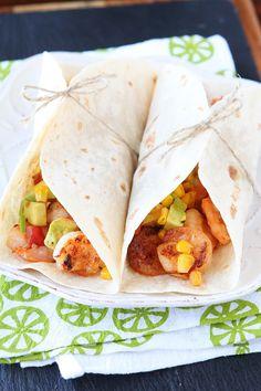 Firecracker Shrimp Tacos with Avocado Corn Salsa by kevinandamanda #Tacos #Shrimp #Spicy #Healthy