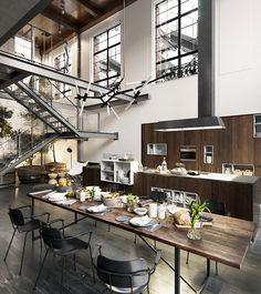 Sala da pranzo in stile industriale 21