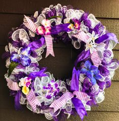 Purple Art Deco mesh wreath. This is a great wreath for Mothers Day, grandmothers, gift for bestie or any occasion. Measures 25 x 25.  All my wreaths offer free shipping throughout the US. Farmhouse style, homemade, home decoration, front door deco, front porch hangers, anniversaries or just because