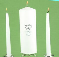 White All My Heart Unity Candle Set