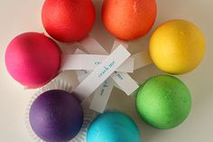 Easter Surprise Eggs by Megan: Dyed eggshells filled with candy or other goodies and sealed at the bottom with paper. What fun!#Easter #notmartha #Eggs