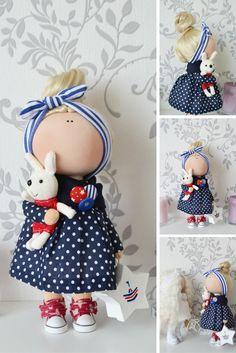 Pinup doll Fabric doll Interior doll Handmade doll Tilda doll Art doll blue doll Soft doll Cloth doll Baby doll by Master Tanya Evteeva