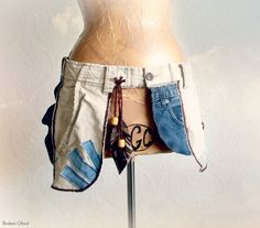 Boho Fanny Pack Upcycled Cargo Purse Hip by BrokenGhostClothing