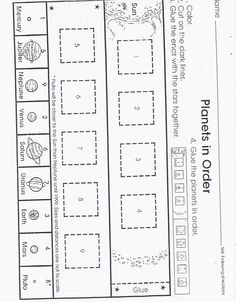 planets worksheet (page 4 of the packet)