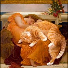 Sir Frederic Leighton, Flaming June, true version by Fat Cat Art - Cats Love Fat Cats, Cats And Kittens, Ragdoll Kittens, Funny Kittens, Bengal Cats, White Kittens, Adorable Kittens, Siamese Cats, Black Cats