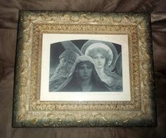 """Circa 1893 Photogravure Goupil """"THE SORROWING SOUL"""" Print in Nice Old Frame"""