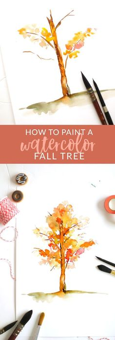 36 ideas for fall tree drawing Watercolor Painting Techniques, Watercolor Projects, Watercolor Trees, Watercolour Tutorials, Watercolor Cards, Painting & Drawing, Watercolor Paintings, Watercolors, Water Colour Painting Tutorial