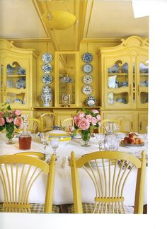 Room of the Day: Monet's Yellow Dining Room ~ love this! Chair backs, blue and…