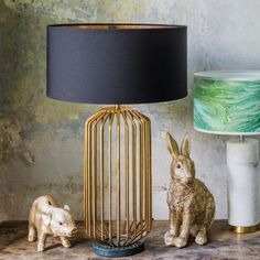 Lounge or hall Linear Table Light Green Marble Base - Table Lamps - Lighting - Lighting & Mirrors £135 52cm h