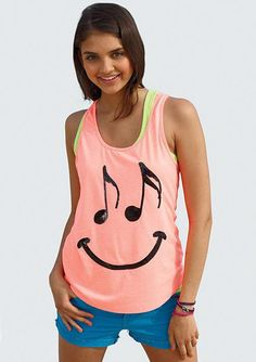 dELiA's Love for music!    Was $2̶4̶.5̶0̶  And Now $9.99 Only!    State your love for music with this pastel colored tank top with a musical note smiley available for an amazing deal only at dEiA's!