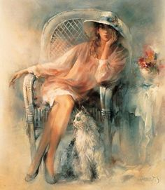 Watercolor painting by Willem Haenraets Art Triste, Painting People, Beautiful Paintings, Colorful Paintings, Cat Art, Female Art, Art Pictures, Framed Pictures, Watercolor Paintings