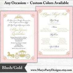 Pink Gold Royal Ball Princess Invitation by MarysPartyDesigns