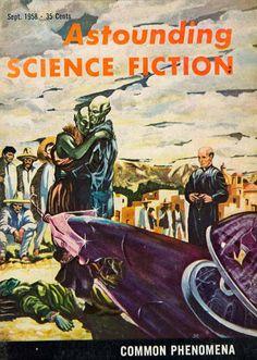 1958 Cover Astounding Science Fiction Art Martinez Common Phenomena Alien YSFC3 #Vintage