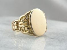 Victorian Signet Ring with Great Curving Style Fine by MSJewelers