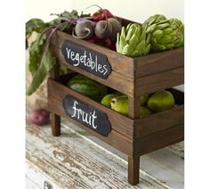 Stackable Fruit Crates with chalkboard labels