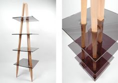 Wooden shelves with acrylic. I should look into Acrylic..