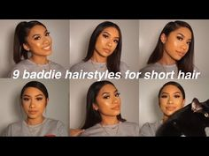 easy hairstyles annie from bratayley Heatless Hairstyles, Baddie Hairstyles, Sleek Hairstyles, Straight Hairstyles, Short Haircuts, Instagram Baddie, Short Brown Hair, Short Straight Hair, Half Updo