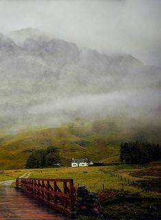 The majestic mist of Glencoe, Scotland. I've visited very close to here. It's where they filmed Skyfall.