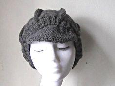 knit newsboy hat, dark grey hat, unisex newsboy, baker boy cap, Winter hat, chunky newsboy cap, hat with peak, uk newsboy hat,ladies hat by yarnawayknits on Etsy