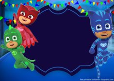Free Printable PJ Masks Invitation Template