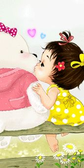 Cute Images, Pretty Pictures, Sweet Girls, Little Girls, Sweet Drawings, Cute Clipart, Baby Princess, Baby Art, Girl Gifs