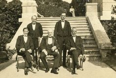 This circa photo provided by The Preservation Society of Newport County shows butler Ernest Birch, center, surrounded by footmen next to the terrace of The Elms mansion in Newport, R. Whitney House, Newport Cottages, Rhode Island History, 1920s Photos, Vintage Photos, Newport County, Picture Albums, Gilded Age
