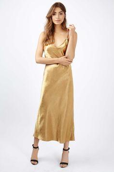 Two Strap Satin Midi Dress - Topshop USA
