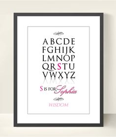 Baby Girl Nursery Alphabet Print, Baby Girl Name Meaning. Baby Wall Decor. Custom A3 Poster Print. Meaning of names poster via Etsy