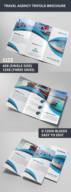 Travel Agency Trifold Brochure — AI Illustrator #accomodation #holiday • Available here → https://graphicriver.net/item/travel-agency-trifold-brochure/10338029?ref=pxcr
