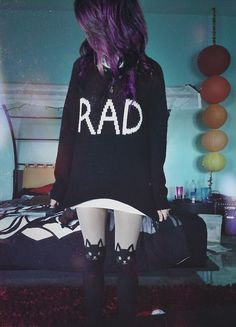RAD Sweater - purple hair - pastel kitten tights - Alternative - pastel goth - soft grunge