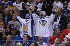 Sep 18, 2016; Toronto, Ontario, Canada; Team Finland fans cheer on their team against Team North America during preliminary round play in the 2016 World Cup of Hockey at Air Canada Centre. Mandatory Credit: Kevin Sousa-USA TODAY Sports