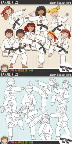 Cute karate kids clip art for teachers! | Contains coloured clipart and black and white outlines at 300 dpi for highest quality printing for your resources and projects! | Hand-drawn clip art by Kate Hadfield Designs at Teachers Pay Teachers