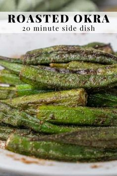 Roasted Cajun okra - a 20 minute side dish. I'll show you how to make okra not slimy. This is a great healthy, vegan, light, gluten-free vegetable side dish to serve with Jambalaya or shrimp & grits. Baked Okra, Roasted Okra, Cajun Recipes, Side Dish Recipes, Healthy Okra Recipes, Oven Recipes, Healthy Eats, Yummy Recipes, Cajun Dishes