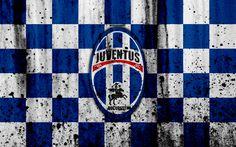 Download wallpapers 4k, FC Juventus Bucuresti, grunge, Romanian league, Liga I, soccer, football club, Romania, Juventus Bucuresti, logo, stone texture, Juventus Bucuresti FC