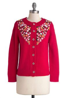 Beckoning Blossoms Cardigan - Knit, Mid-length, Red, Orange, Green, White, Floral, Buttons, Embroidery, Folk Art, Long Sleeve, Better, Crew,...
