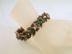 Florenza Bracelet Silvertone with Green and by CharmedCollectibles, $65.00