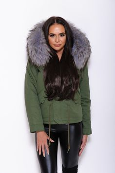 Grey Fur Collar Parka Green Parka, Green Jacket, Hooded Parka, Parka Coat, Fur Coat, Fur Collars, Fur Trim, Racoon, Cuffs