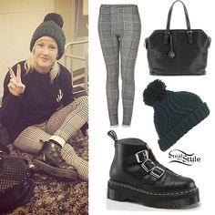 Ellie Goulding: Check Pants, Green Beanie | Steal Her Style