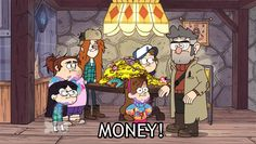 Mabel and Ford are just standing there while the rest watches Stan just run away with all the money lol.