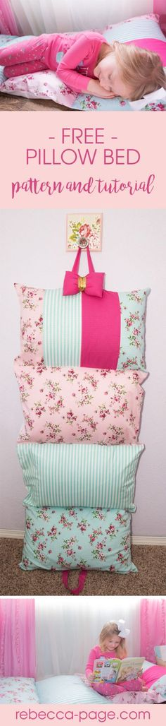 This free pillow bed tutorial will teach you how to make a pillow bed. I chose to make the cases envelope style so that you can easily remove the pillows.